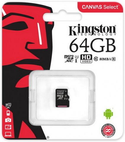Карта памяти Kingston microSDXC 64GB Class 10 UHS-I R80MB/s (без адаптера) (SDCS/64GBSP)