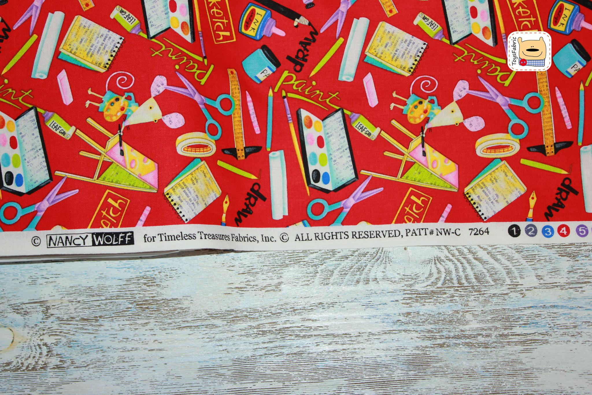 Ткань для пэчворка  20519 (мышки художники) 45х55см