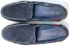 Летние мужские туфли мокасины мужские кожаные Faber 142213-7 Navy Blue.