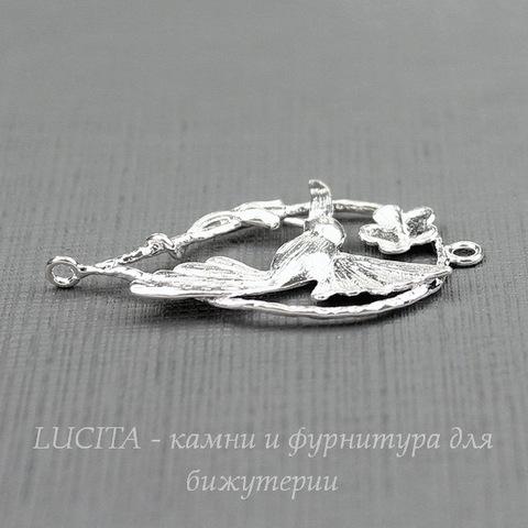 """Коннектор """"Колибри"""" (1-1) 36х20 мм (цвет - серебро)"""