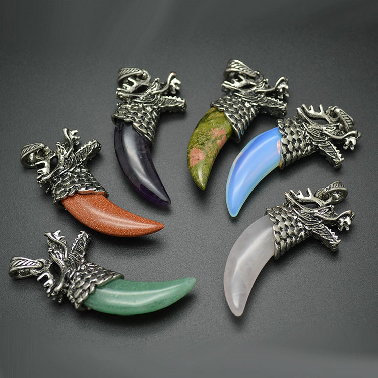 Stone Dragon Teeth Pendant Mixed Color