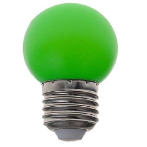 Светодиодная лампа - шарик, 1Вт, Е27, зеленая.