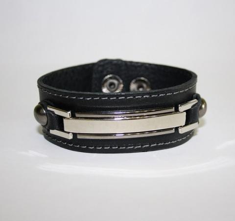 Стильный мужской чёрный браслет российского производства из натуральной кожи и стали TRONIN N-38
