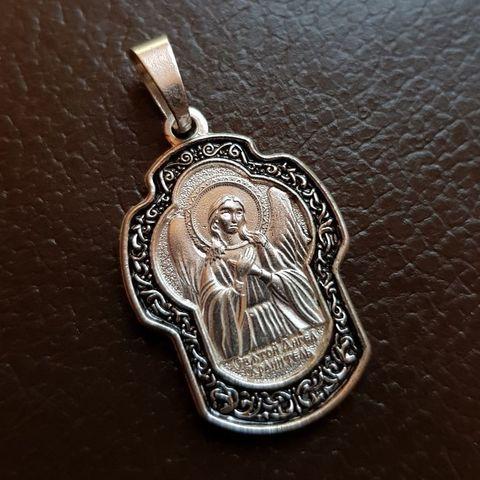 Нательная именная икона Ангел Хранитель с серебрением кулон с молитвой