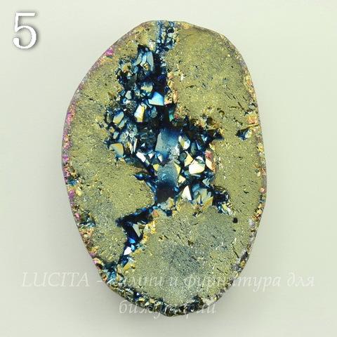 Бусина Агат с Кварцем с жеодой (тониров), цвет - бензиновый, 32-34 мм (№5 (32х26 мм))