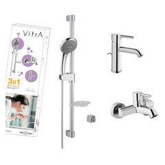 Комплект смесителей с душевым гарнитуром Vitra Minimax A49153EXP фото