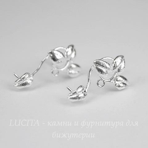 """Пуссеты - гвоздики """"Веточки"""" 19х8 мм (цвет - серебро)(с заглушками)"""