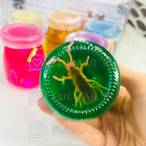 Слаймы набор баночки увеличительное стекло сюрприз насекомое внутри игрушка 6 штук