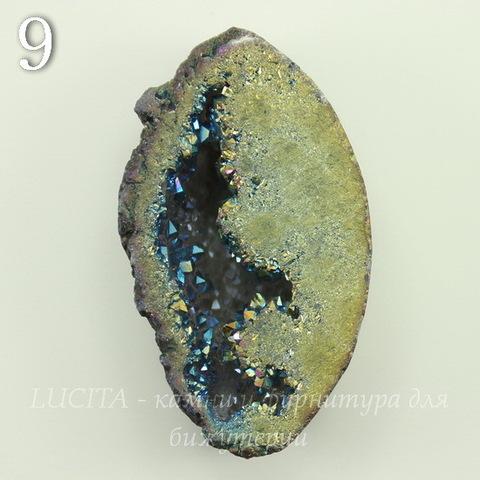 Бусина Агат с Кварцем с жеодой (тониров), цвет - бензиновый, 32-34 мм (№9 (34х23 мм))