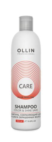 OLLIN care шампунь, сохраняющий цвет и блеск окрашенных волос 250мл/ color&shine save shampoo