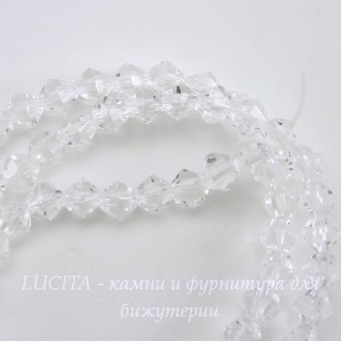 Бусина стеклянная, биконус, цвет - прозрачный, 4 мм, нить