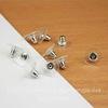 Зажим для пуссет-гвоздиков с прозрачной площадкой 11х7 мм (цвет - платина), 5 ПАР