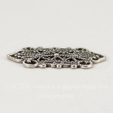 Винтажный декоративный элемент - коннектор - филигрань (2-2) 21х12 мм (оксид серебра)