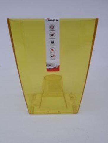 "Кашпо пластик ""Финезия"" 125x125 мм, желтое прозрачное"