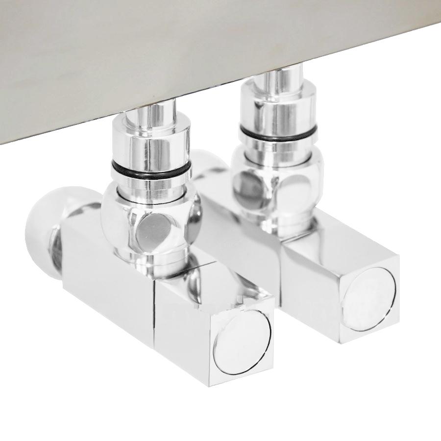 Вентиль квадратный регулировочный прямой белого цвета.