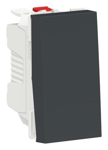 Выключатель кнопочный одноклавишный. 1 модуль. Цвет Антрацит. Schneider Electric. Unica Modular. NU310654