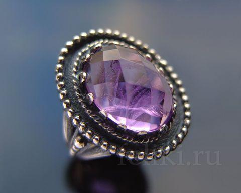 серебряное кольцо с бразильским аметистом, вставка 10*15 мм