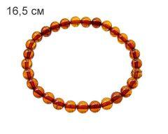 браслет из янтарных шариков 7 мм_цвет тёмный коньяк_фото
