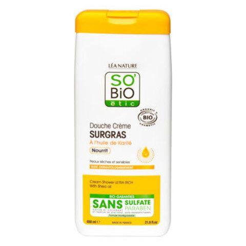 Ультра питательный крем для душа с маслом ши для сухой и чувствительной кожи SO'Bio etic, 650 мл
