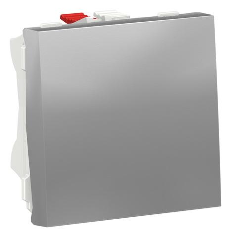 Выключатель одноклавишный. 2 модуля Цвет Алюминий. Schneider Electric. Unica Modular. NU320130