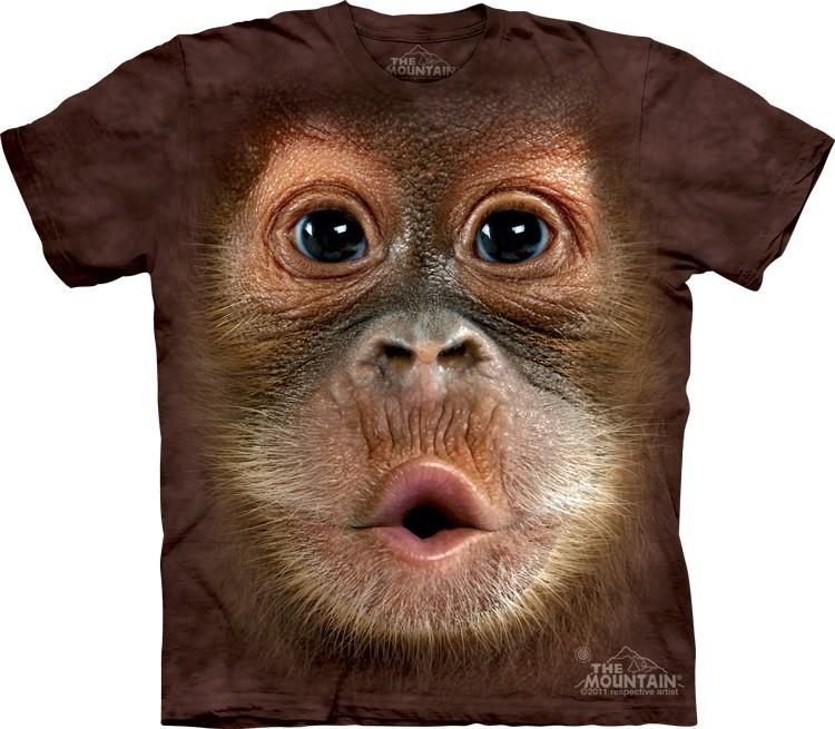 Футболка Mountain с изображением детеныша орангутана - Big Face Baby Orangutan