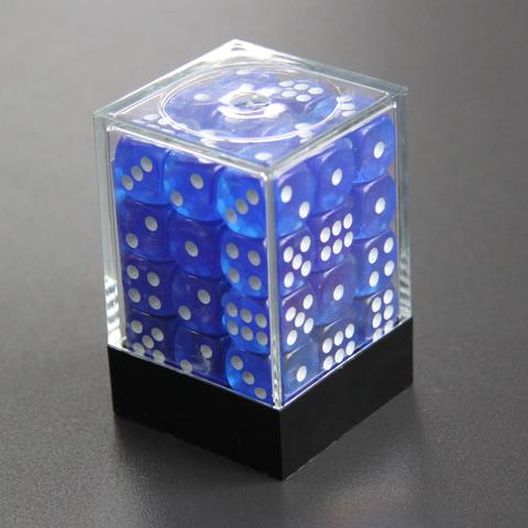 Набор шестигранных кубиков прозрачный темно-синий (36 штук)