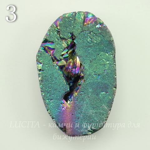 Бусина Агат с Кварцем с жеодой (тониров), цвет - бензиновый, 32-34 мм (№3 (32х23 мм))