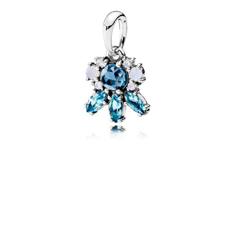 Silver pendant with moonlight blue crystal, sky blue crystal and opalescent white crystal