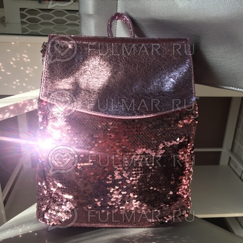 Рюкзак школьный с пайетками меняющий цвет Розовый-Серебристый А4