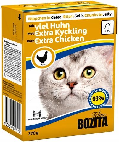 Bozita Feline Chicken кусочки в желе с рубленой курицей 370г