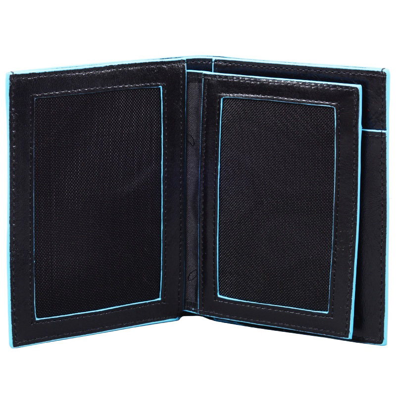 Бумажник Piquadro Blue Square, цвет черный, 9,5x12,5x2 см (PU1129B2/N)