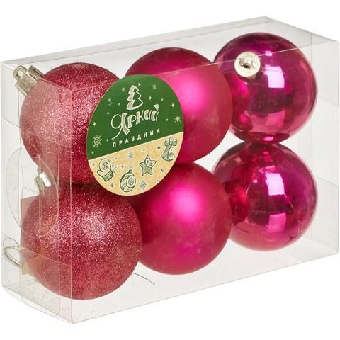 Новогоднее украшение набор из 6 шаров, d=6см, лиловый, 16587