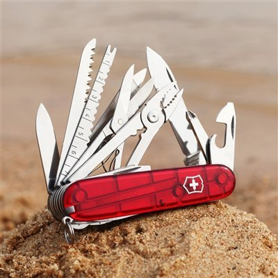 Складной многофункциональный нож Victorinox SwissChamp (1.6795.T) 91 мм., 33 функции, цвет красный полупрозрачный - Wenger-Victorinox.Ru