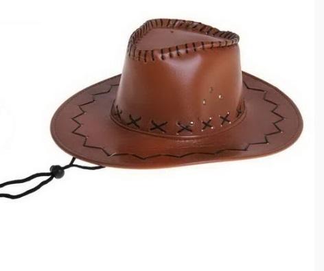 Шляпа ковбойская кожаная светло-коричневая