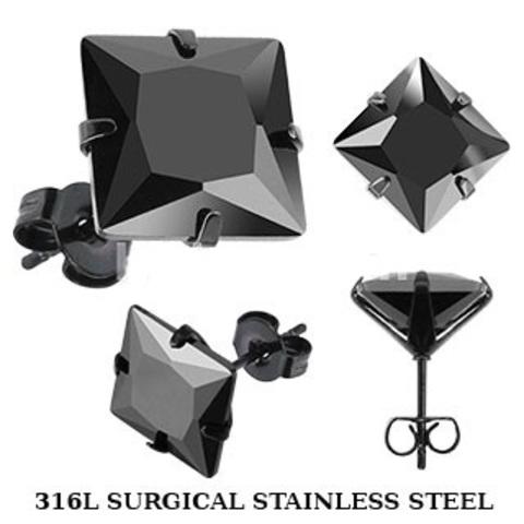 Мужские квадратные серьги гвоздики из нержавеющей ювелирной медицинской хирургической стали 316L с чёрным цирконом SPIKES SESQK-8K