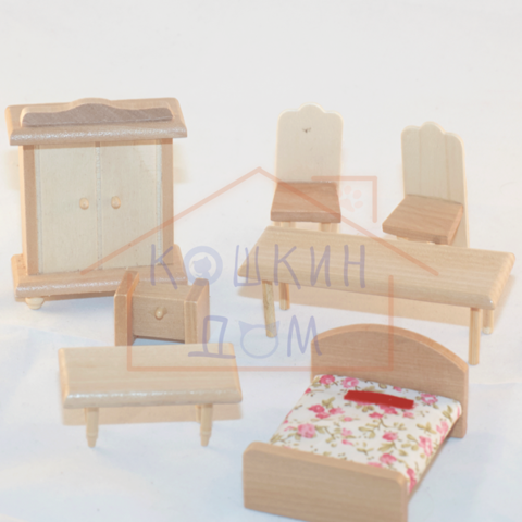 Набор деревянной мебели для кукол до 7см SL-W-1