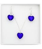 Комплект украшений в виде сердца синий Cuori