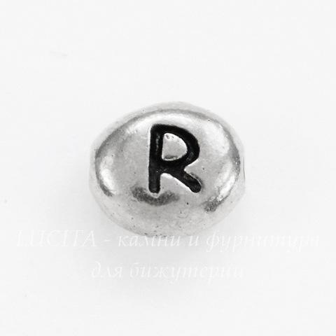 """Бусина овальная TierraCast """"Буква R"""" 7х6х3 мм (цвет-античное серебро)"""