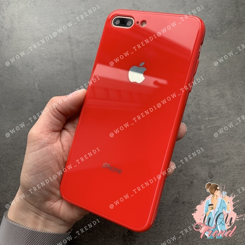 Чехол iPhone 7/8 Plus Glass Full color Case Logo /red/