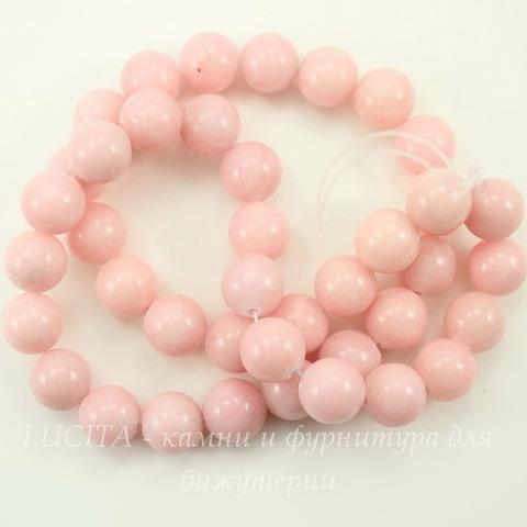 Бусина Жадеит (тониров), шарик, цвет - йогуртово-розовый, 10 мм, нить
