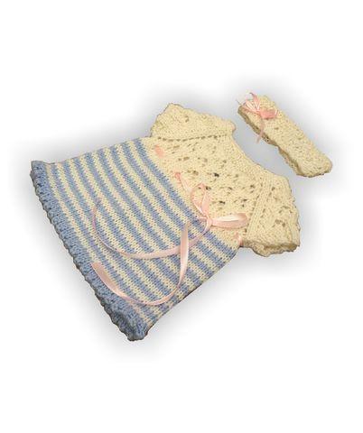 Вязаное платье с полоской - Голубой. Одежда для кукол, пупсов и мягких игрушек.
