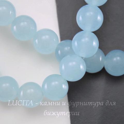 """Бусина Жадеит (тониров), шарик, """"Бледно-голубой туман"""", 10 мм, нить"""