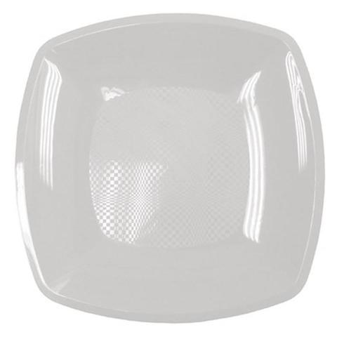Тарелка одноразовая квадратная плоская белая 18 см ПП 12 шт/уп