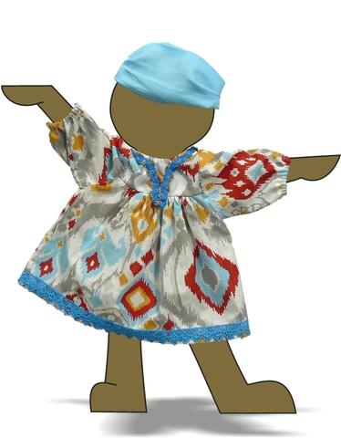 Платье этническое - Демонстрационный образец. Одежда для кукол, пупсов и мягких игрушек.