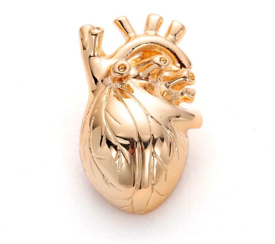 Брошь Сердце (золотой цвет)