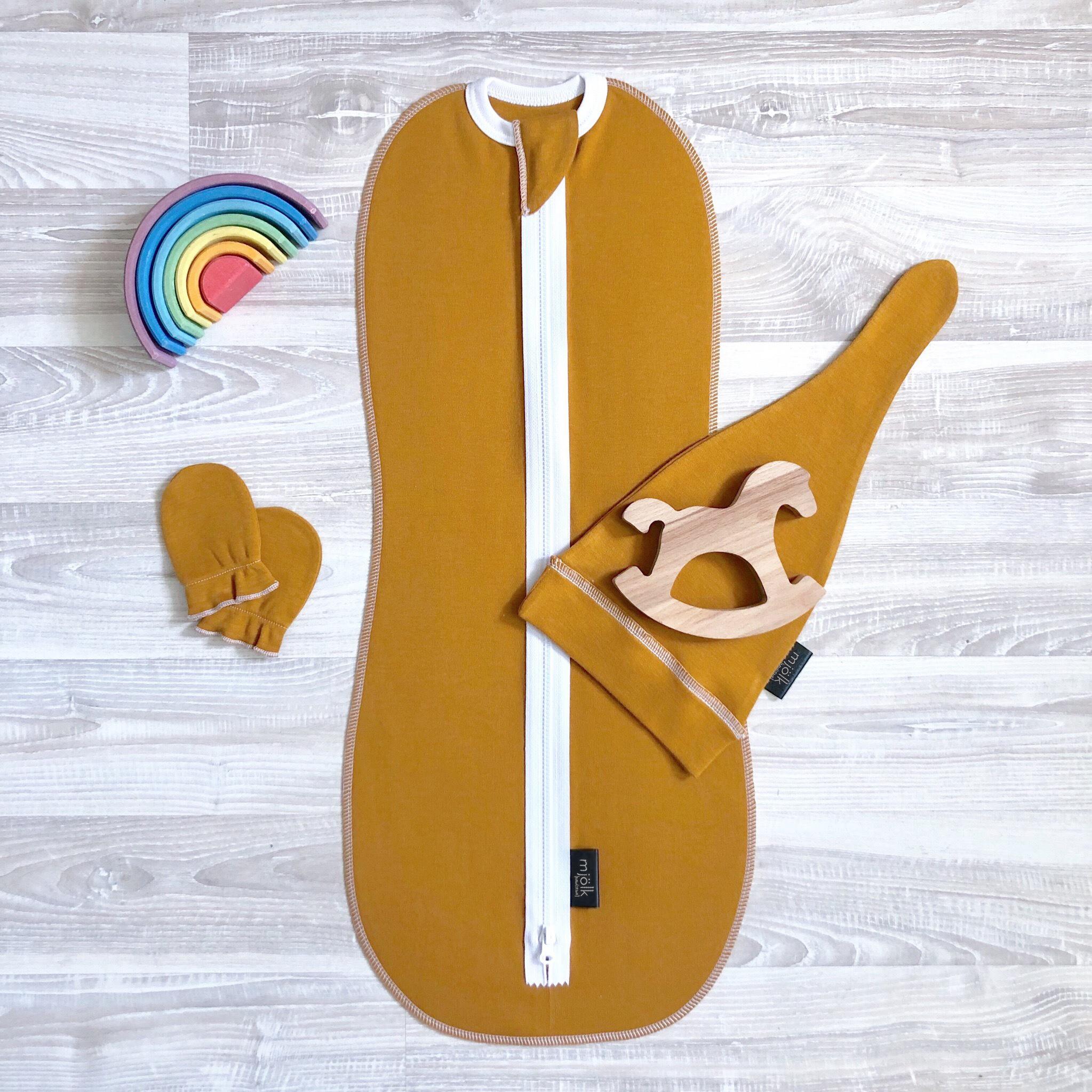 Комплект Mjölk Golden Brown Set {пеленальный кокон, шапочка, антицарапки}