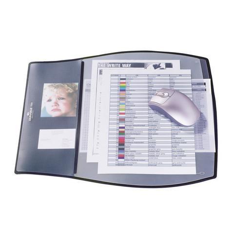 Коврик на стол DURABLE 7209, 3 раб.уровня-с прозр.слоями,39х44, черн.