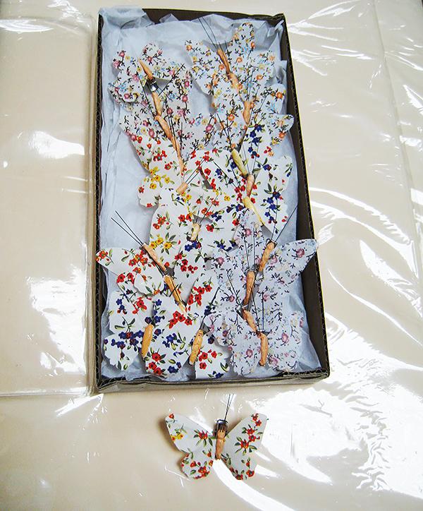 Бабочка на прищепке тканевые с мелким узором 6,5 см.