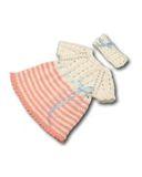 Вязаное платье с полоской - Розовый. Одежда для кукол, пупсов и мягких игрушек.