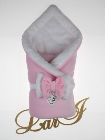 Зимний велюровый конверт Бабочка (розовый/белый)